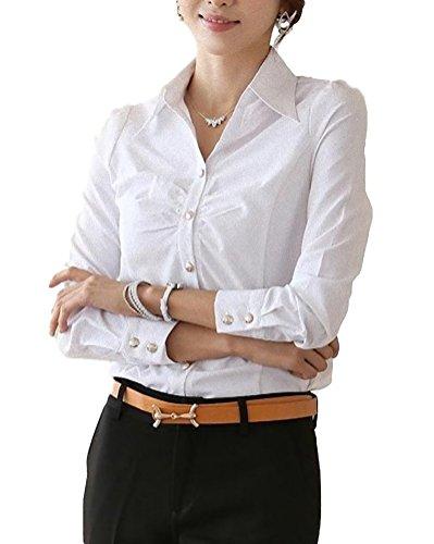 下手頭金属applesnow(アップルスノー) 銀ボタン 白 ブラウス ドレスシャツ ワイシャツ 長袖 スリム レディース (L)