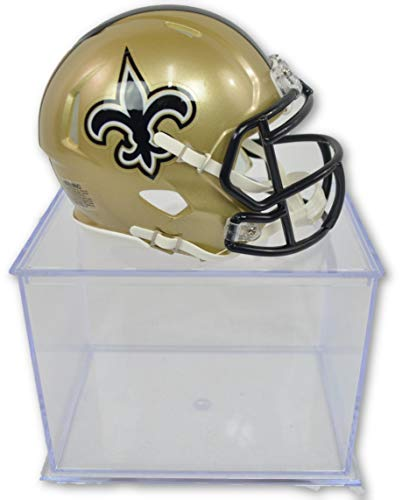 Helmet Authentic Riddell Mini Football - Riddell-Pro Mold Official National Football League Fan Shop Authentic NFL Mini Speed Helmet and Display Case Bundle. Great Sports Fan Collectible - Office, Home or Man Cave (New Orleans Saints)
