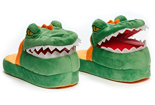 Stompeez Animated Dinosaur T-Rex Plush Slippers - Ultra Soft and Fuzzy - Mouth Opens and Closes as You Walk Green
