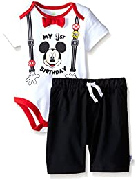 Disney Baby Boys' Mickey Mouse First Birthday Short Set