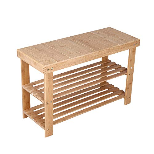 KKTONER Bamboo Shoe Rack Bench 3 Tier Entryway Seat Shoe Organizer Storage Shelf Natural Color