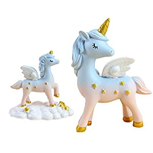 2 Style Unicorn Figurine, Mini Resin Unicorn Cake Topper for Baby Shower Kids Birthday Party Office Desk Decoration Supplies(Blue)