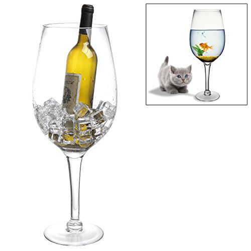 20 Inch Giant Clear Decorative Hand Blown Wine Glass Novelty Stemware / Champagne Magnum Chiller