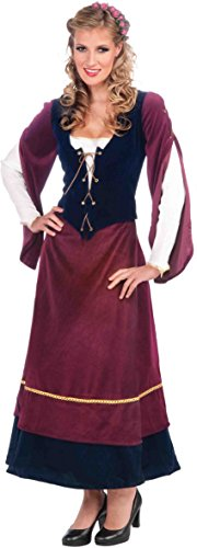 Forum Medieval Wench Deluxe Costume, Plum/Black, (Renaissance Wench Sexy Costumes)