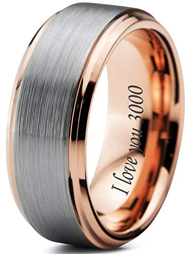 Zealot Jewelry Tungsten I Love You 3000 Quote Engraved Band Ring 8mm Men Women Comfort Fit 18k Rose Gold Step Bevel Edge Brushed Polished Size 10