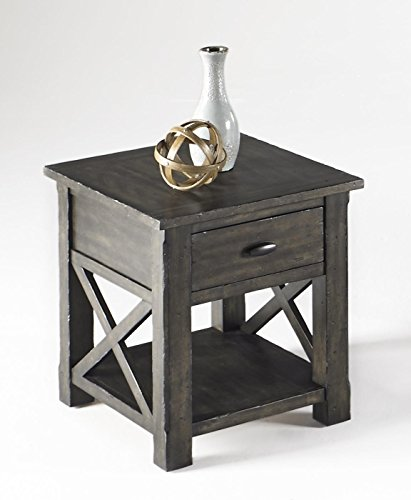 (Progressive Furniture T550-04 Crossroads Rectangular End Table, Smokey Gray)