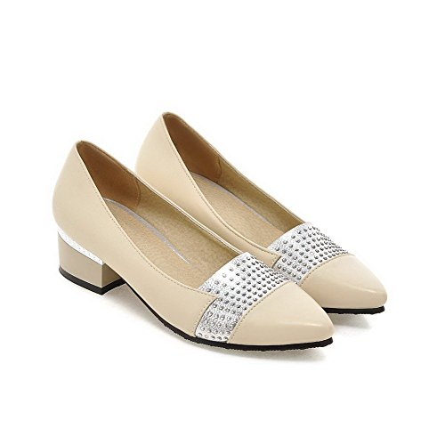 Shoes VogueZone009 Assorted Toe Pumps Color Apricot Pointed PU Pull Low Closed Women's Heels On qZ6qnT