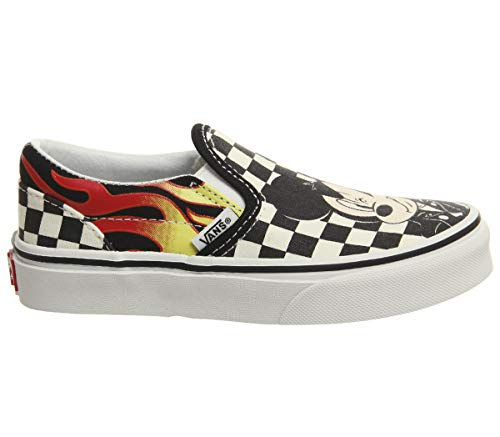Vans Little/Big Kids x Disney Mickey Mouse 90th Anniversary Classic Slip-On Shoes (11.5 M US Little Kid, Mickey & Minnie/Checkerboard Flame)