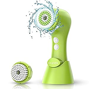 Facial Cleansing Brush, OLAXER Two Rotating Speed Face Scrubber Exfoliator Cleaning Brush Powered by 2xAA Batteries with 2 Brush Heads