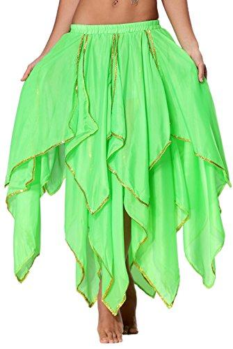 Maxi Orientale Brillante longue De Du Soie En 13 Jupe Danse Panneau Panel Seawhisper Bordure Mousseline Avec Pomme Ventre vert 16 nwPX80Ok