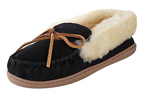 Minnetonka Womens Alpine Sheepskin Moc Black