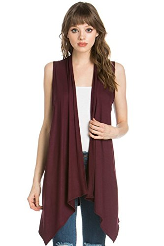 Cardigans for Women Solid Color Sleeveless Asymetric Hem Open Front Drape Long Cardigan Vest -Wine Rose (X-Large) by Sportoli