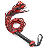 CareUToo Premium Quality Leather Suede Braided, Bull Whip, Extra Long Handle Wrapped in Leather Suede 2 Knots - Black Red
