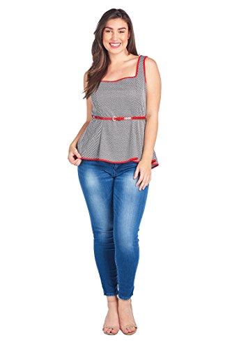 Bubble B Women's Plus Size Sleeveless Peplum Styled Top Black Multi 1X