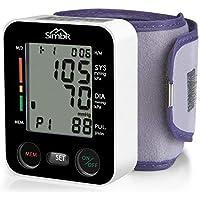 SIMBR Misuratore di Pressione da Polso,Sfigmomanometro da Polso Digitale,Monitor della Pressione Arteriosa con 180 Memorie di Misura per 2 Utenti