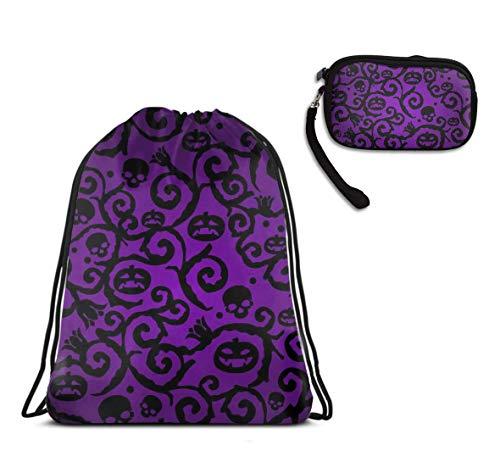 Sport Travel Drawstring Bag Daypack - Happy Halloween Purple Pumpkin Drawstring Rucksack, High Capcity Lightweight Waterproof Shoulder Bags + Clutch Bag Coin Cash -
