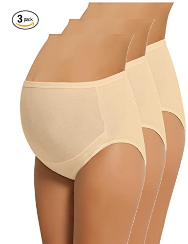 Image of the NBB Lingerie NBB Women's Adjustable Maternity Panties High Cut Cotton Over Bump Underwear Brief (XXL-Large, 3 Pack - Beige)
