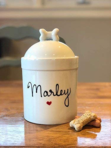 (Large Size Personalized Dog Treat Jar and Canister Personalized with Name, Airtight Dog Treat Container with Silicone Seal and bone Lid)