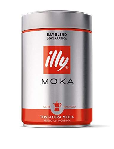 illy Coffee, Moka Ground, Medium Roast, 100 percent Arabica Bean Signature Italian Blend, Premium Gourmet Roasted Coffee, Pressurized Fresh, 8.8oz Can, 4 Pack