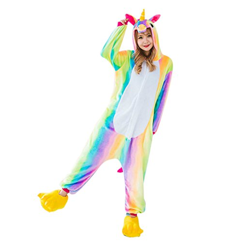 Beautyer Unicorn Onesie Pajamas Colorful Animal Sleepwear for Party Supply