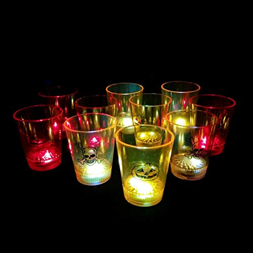 FunPa 12PCS Creative Liquid Activated LED Cup Flashing Cup for Halloween Light up Cup]()