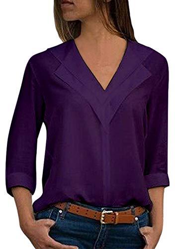 Manches Violet Soie Shirt Mousseline en de EFOFEI T Longues Femme aFZywv