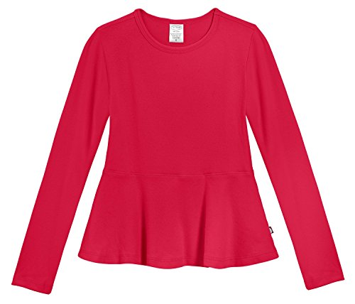 City Threads Little Girls' Cotton Long Sleeve Peplum Top Blouse Shirt for School, Parties or Play Perfect for Sensitive Skin and Sensory Friendly SPD, Candy Apple Red, 5