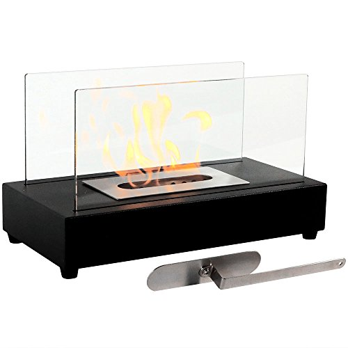 Sunnydaze Black El Fuego Ventless Tabletop Bio Ethanol Fireplace