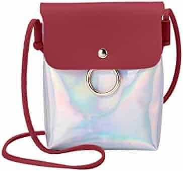 Women Fashion Laser Cover Ring Hasp Crossbody Bag Shoulder Bag Coin Phone  Bag RD d67cf34a885bb