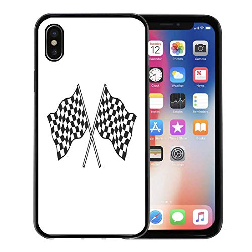 Semtomn Phone Case for Apple iPhone Xs case,Race Checkered Flags Racing Win Finish Auto Begin Black for iPhone X Case,Rubber Border Protective Case,Black