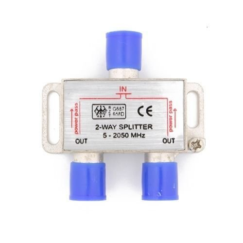 2 Way 5-2050 MHz 1 to 2 Coaxial Splitter for RG6 RG59 Coax Cable HDTV Satellite ()
