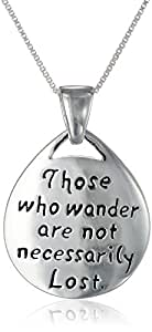 "Sterling Silver ""Those Who Wander Are Not Necessarily Lost"" Reversible Pendant Necklace, 18"""