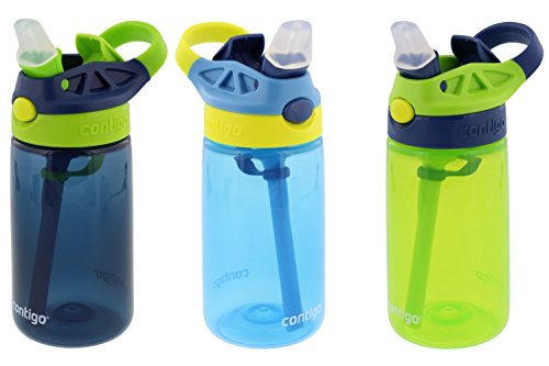Contigo Kids Autospout Gizmo Water Bottles, 14oz (Nautical, School Boy, Granny Smith)