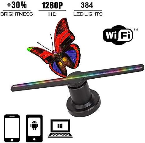 BESTSUGER Ventilador de Pantalla 3D, 1280P HD Wi-Fi 3D Holograma ...