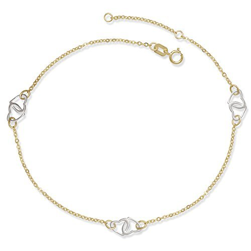 JewelryWeb 14k Two-tone Gold 9-10-inch Adjustable Interlocking Hearts Cable Station Anklet