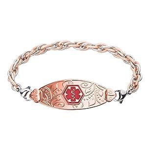 Divoti Custom Engraved PVD Rose Gold Lovely Filigree Medical Alert Bracelet -Inter-Mesh Rose Gold/Silver-TP Red