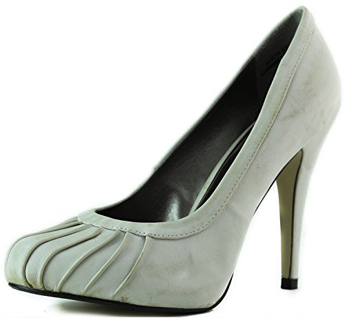 Womens Stilettos High Heel Ruffle Decorated Upper Round Toe Pumps Fashion Shoes Nude