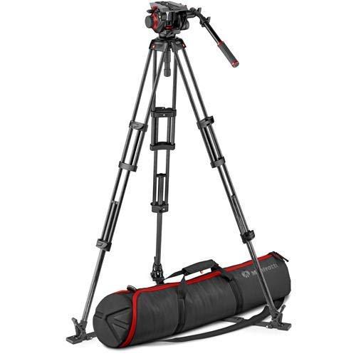 Manfrotto 504HD Head & Carbon Fiber Twin Leg Video Tripod Kit, Ground Spreader, 100/75mm Bowl ()