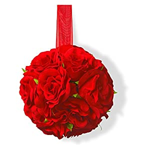 National Tree Company 5 in. Valentine Rose Ball - Set of 4 83