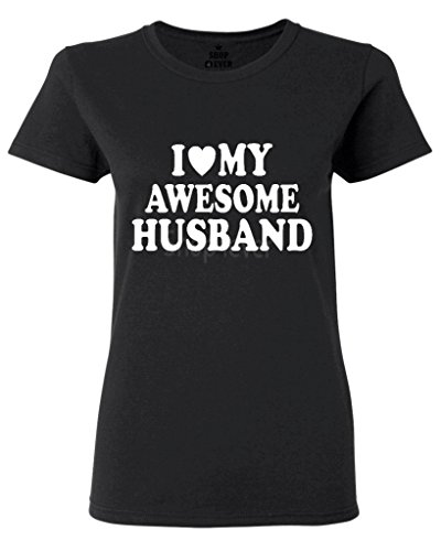 Shop4Ever I Love My Awesome Husband Women's T-Shirt Couples Shirts X-Large Black