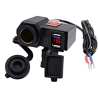 Waterproof Dual USB Charger, Vacio Socket Motorcycle Handlebar Clamp Power 5V/2.1A Splitter Adapter Charger USB Charging System with Cigarette Lighter Socket and Voltmeter for Phones