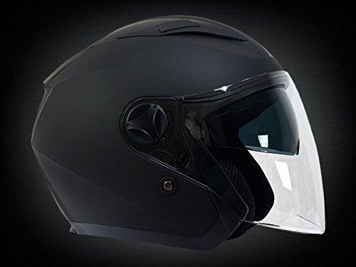 Casco tipo jet para motociclista, marca Lazer, modelo JH1 Z-Line, negro mate