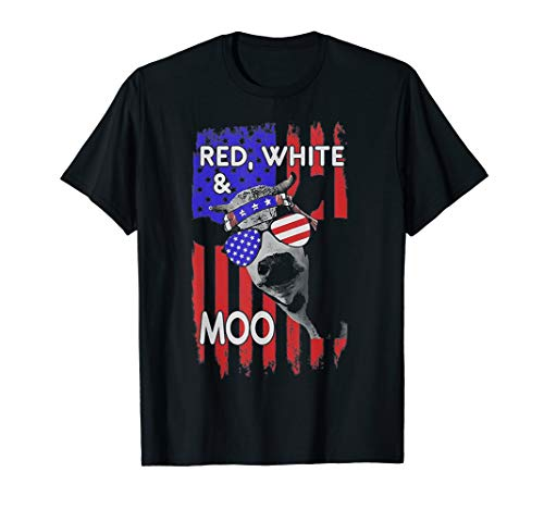 Moo Little Cow (Red White and Moo Patriotic Cow USA Flag 4th of July  T-Shirt)