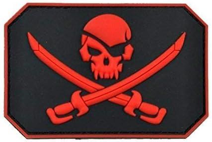 Pirata Calavera 3d parche de goma PVC insignia Militar Táctico W/Gancho de vuelta tipo E: Amazon.es: Juguetes y juegos