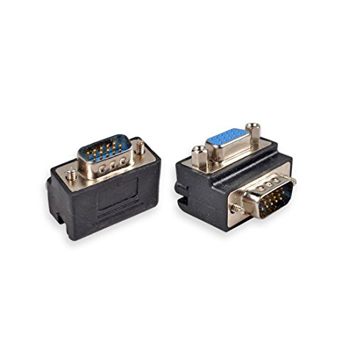 HTTX VGA SVGA KVM HD15 Male to Female Mini Gender Changer Right Angle Adapter for Monitor, HDTVs, Projectors, LCD Displays (4-Pack) (F/f Changer Db15 Gender)