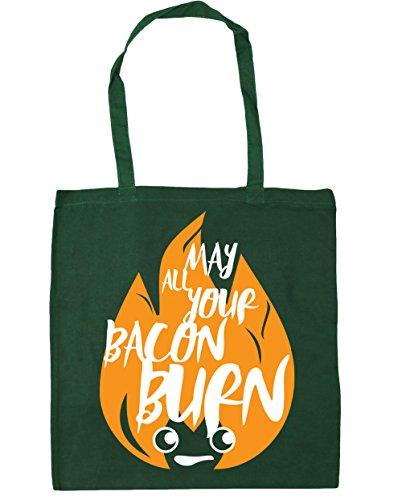 Bag 10 Burn Green Tote Gym All litres Bacon 42cm Your x38cm Beach Bottle HippoWarehouse May Shopping H7qHz