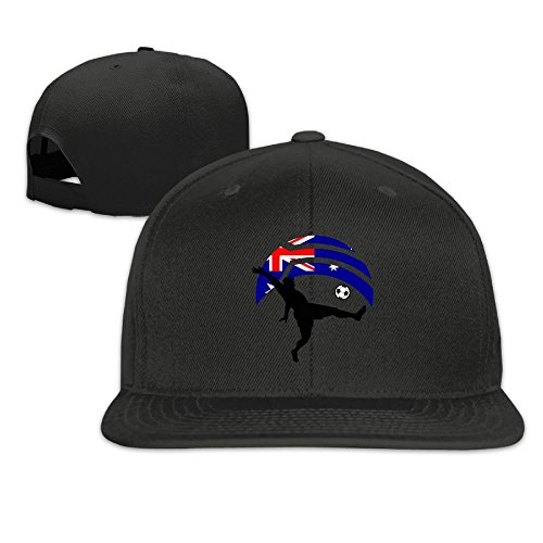 Soccer Player Kicking Ball Australia Flag Plain Adjustable Snapback Hats Men's Women's Baseball (Skeleton Costume Australia)