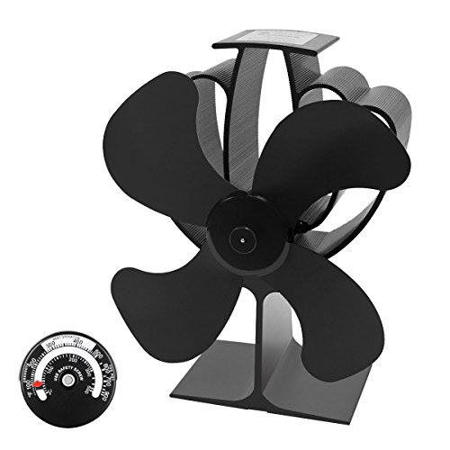 Signstek 4 Blade Heat Powered Stove Fan for Wood Log Coal Fire Burner Fireplace by Signstek