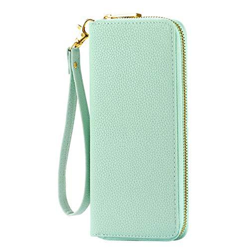 HAWEE Long Wristlet Handbag Leather Zipper Wallet for Cellphone Card Holder Coin Purse, Mint Green