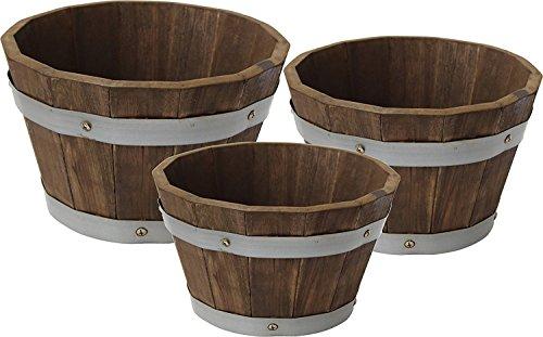 (Happy Planter HP304 Wood Barrel Outdoor Planter, Set of 3 Planters,  Color: Mocha Brown)